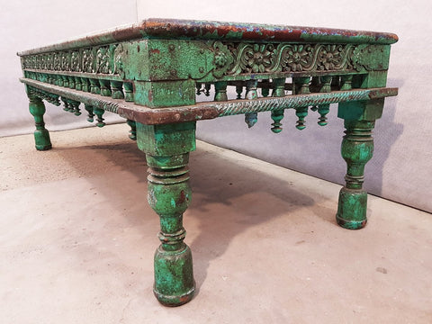 Large Antique Indian Green Teak Ornate Coffee Table, circa 1850