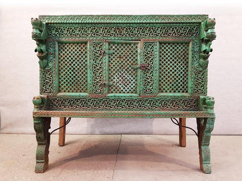 Image of Large Indian Antique Teak and Iron Turquoise Damchiya Dowry Ornate Chest, circa 1850