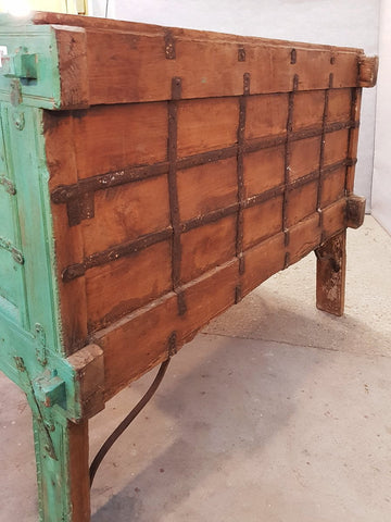 Large Indian Antique Teak and Iron Green Damchiya Dowry Ornate Chest, circa 1850