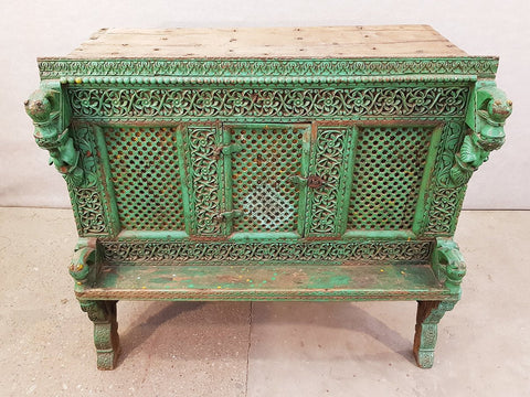 Large Indian Antique Teak and Iron Turquoise Damchiya Dowry Ornate Chest, circa 1850