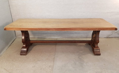 Large Massive Vintage French Trestle Dining Table Elaborate Base