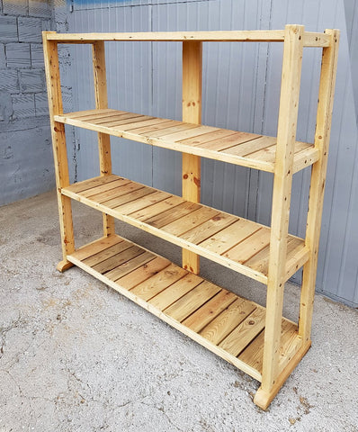 Image of Large Solid Rustic Reclaimed Pine Wood Timber Storage Furniture Bookshelf