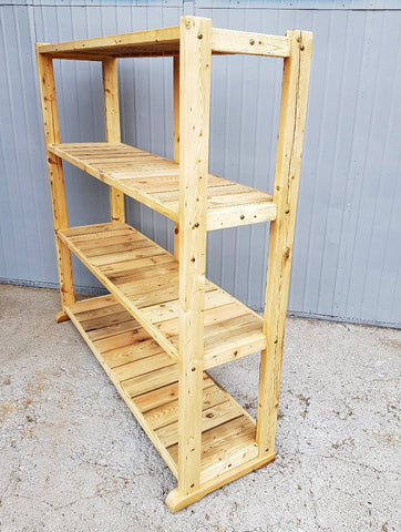 Large Solid Rustic Reclaimed Pine Wood Timber Storage Furniture Bookshelf