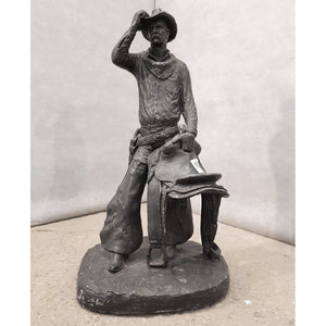 "Michael Garman Spelter Statue ""The Saddle Tramp""  Late 1960s Cowboy Sculpture"
