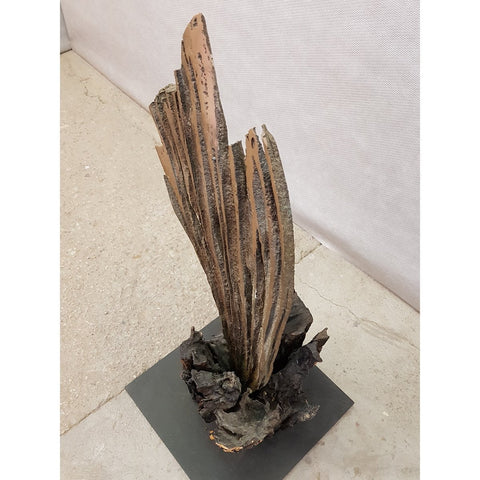 Image of Mid Century Modernist Bronze and Wood Brutalist Abstract Sculpture
