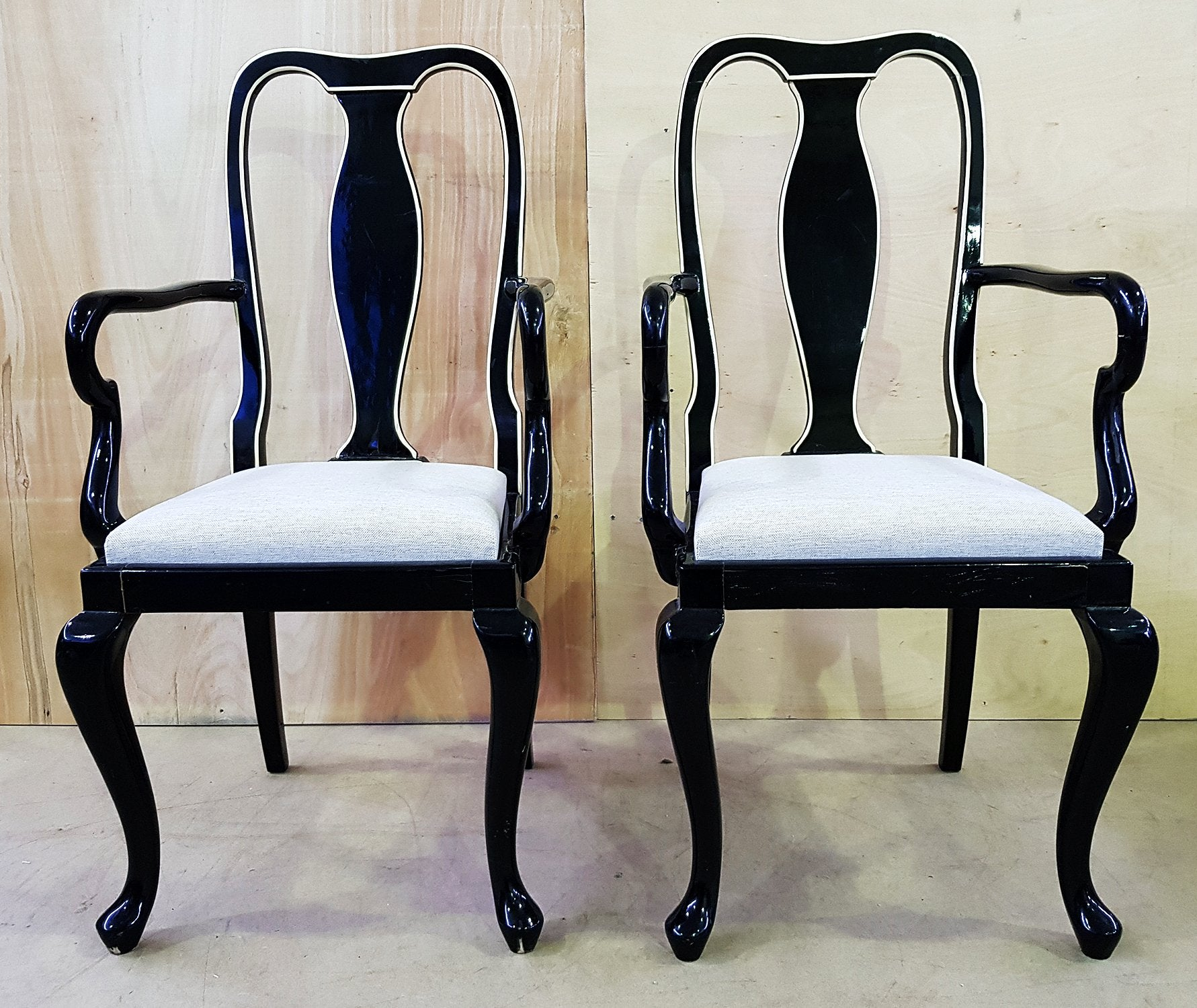 ... Pair Of Two Antique Queen Anne Style Black Lacquer Accent Side Chairs  ...