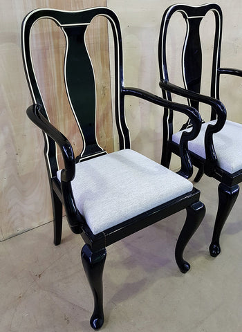 Pair of Two Antique Queen Anne Style Black Lacquer Accent Side Chairs