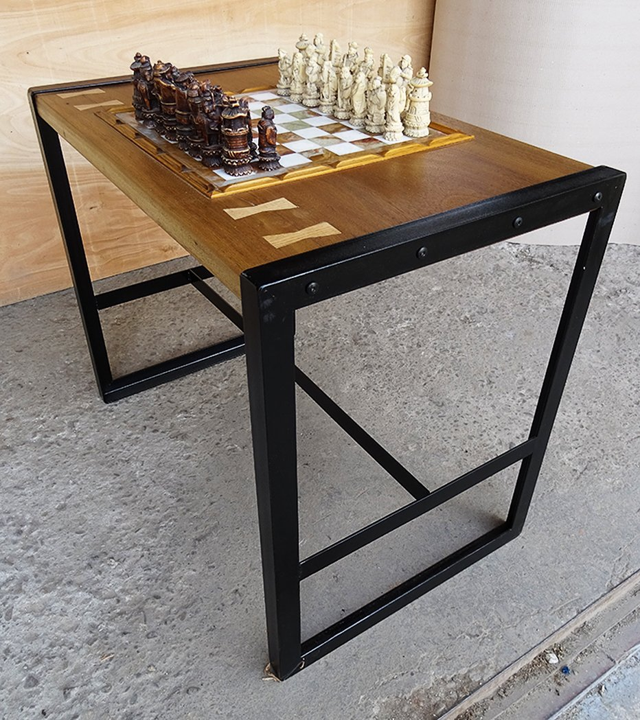 ... Reclaimed Wood Marble Chess Top Game Table Butterfly Key Joints Solid  Metal H Stretcher Leg ...