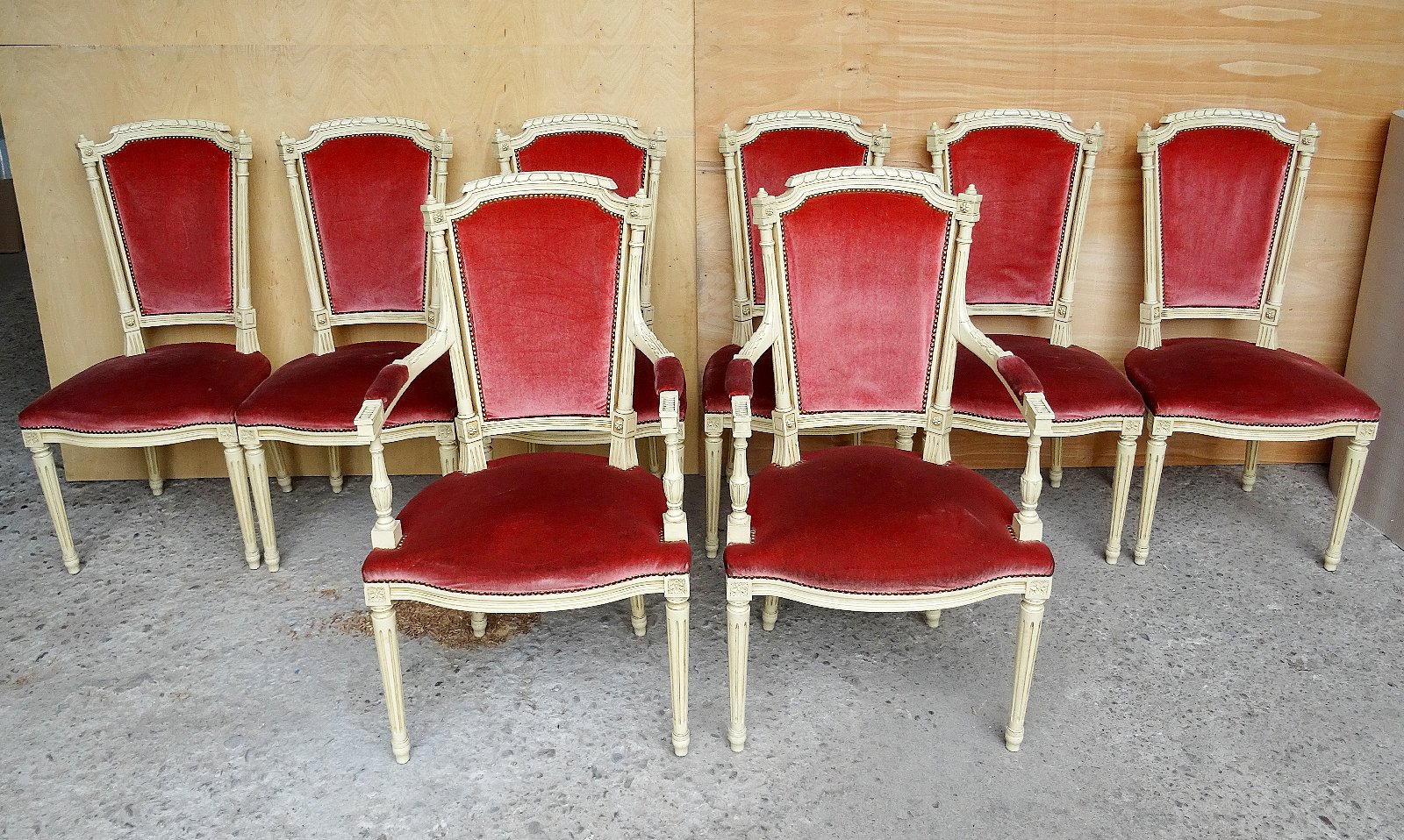 Set Of Eight Louis XVI Style Velvet Long Back Dining Chairs ...