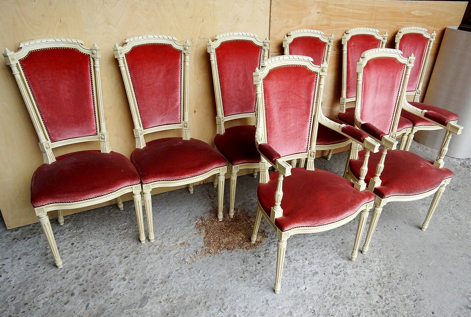... Set Of Eight Louis XVI Style Velvet Long Back Dining Chairs ...