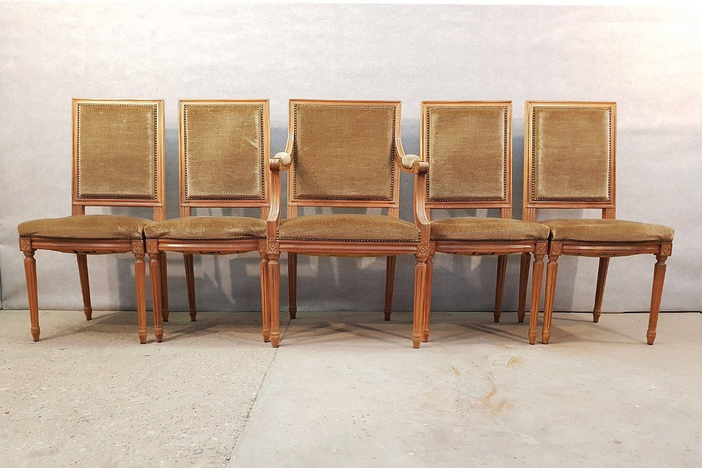 Set of Five French Louis XVI Square Back Vintage Dining Chairs 4 Side Chairs and 1 Armchair