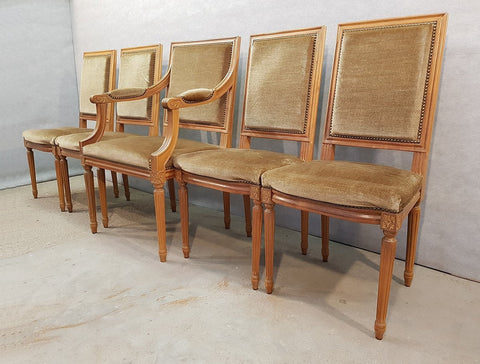 Image of Set of Five French Louis XVI Square Back Vintage Dining Chairs 4 Side Chairs and 1 Armchair