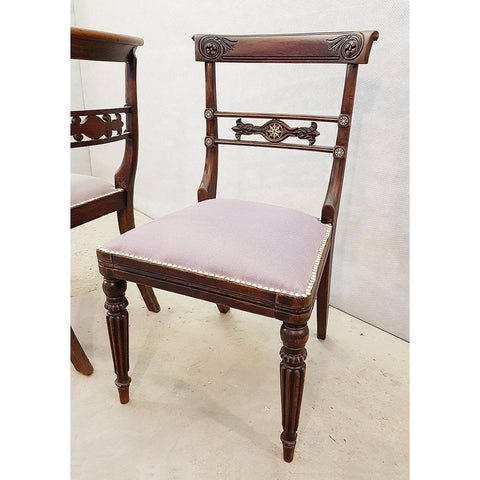 Set of Two French Vintage Imperial Neoclassical Carved Oak Accent Chairs