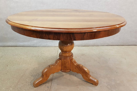 Image of Solid French Antique Oak Center Pedestal Round Tilt Top Dining Breakfast Table