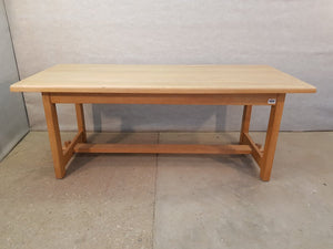 Massive Solid Vintage French Country Farmhouse Oak H-stretcher Dining Table