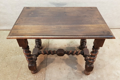 Solid Sturdy Antique French Oak Barley Twist H-stretcher Table Desk