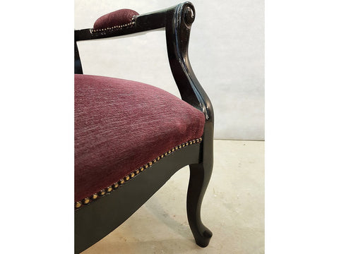 Vintage Louis XV Style French Black Laquered Wood Fauteuil Armchair w Purple Upholstery