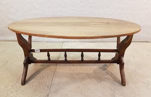 Vintage Oval Oak Mid Century Coffee Accent Table