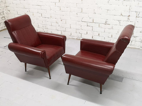 Pair of Rare Vintage Mid-Century Modern Burgundy Faux leather Club Lounge Chairs