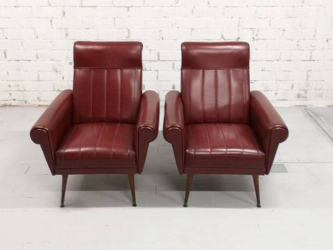 Pair Vintage Mid-Century Modern Burgundy Faux leather Club Lounge Chairs