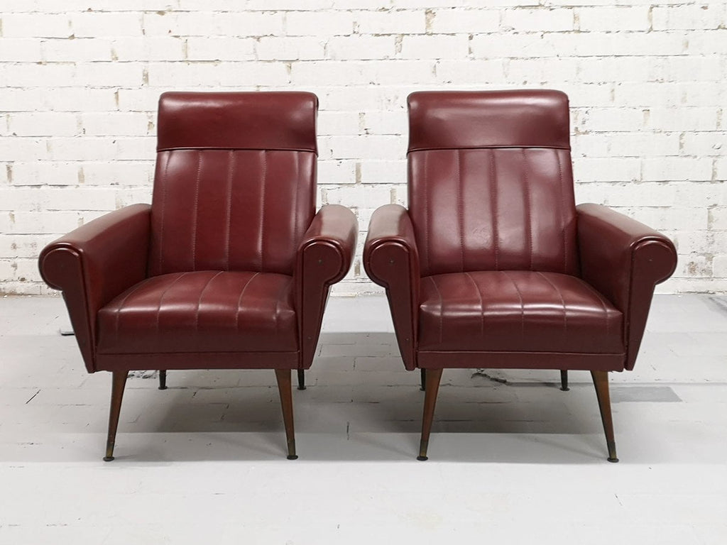 3ac7b212fd0ad Pair Vintage Mid-Century Modern Burgundy Faux leather Club Lounge Chairs.  Tap to expand
