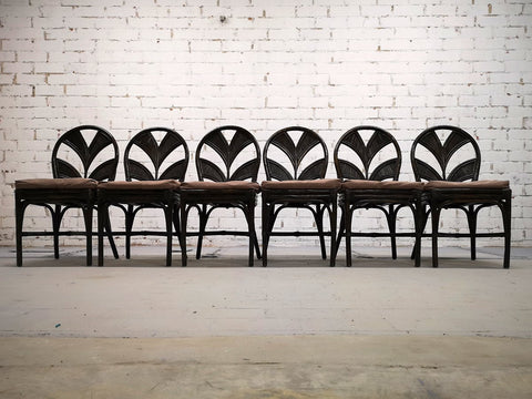 Set of 6 Mid Century Italian Vintage Rattan Bamboo Dining Chairs