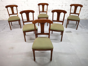 Set of 6 French Mid 20th-century Neoclassical Style Olive Green Dining Chairs