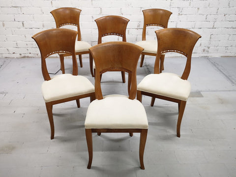 032019 Set of 6 French Oak Early 20th-century Reupholstered White Art Deco Dining Chairs