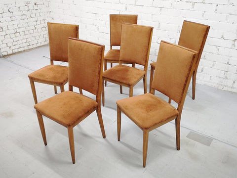Image of Set of 6 Mid-Century Modern Luxury High Back Copper Velvet Dining Side Chairs