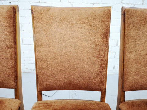 Set of 6 Mid-Century Modern Luxury High Back Salmon Dining Side Chairs