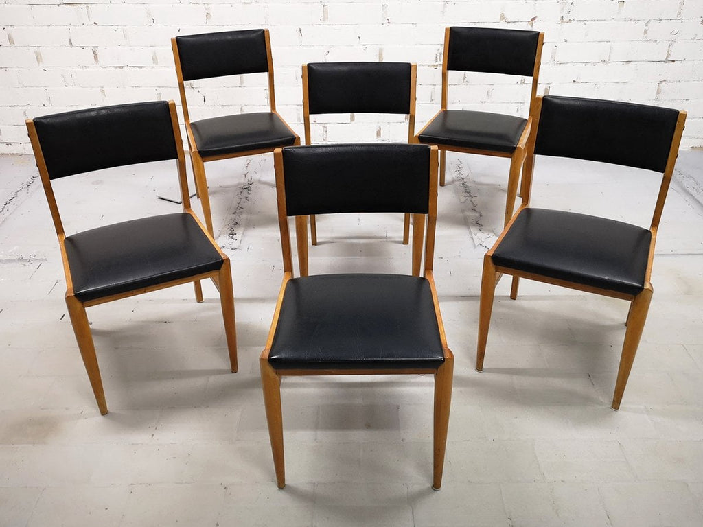 Set Of 6 Mid Century Modern Danish Design Faux Leather Dining Chairs