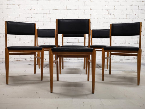 Set of 6 Mid-Century Modern Danish Design Faux Leather Dining Chairs