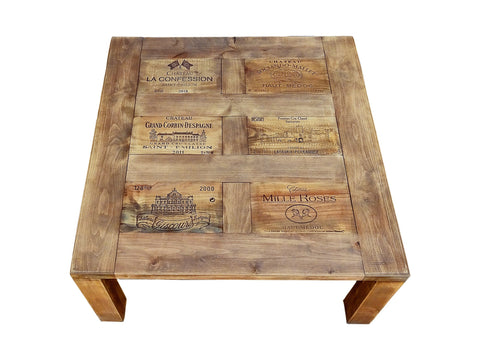 Darvo Reclaimed Pine Wood Wine Crates Rustic Coffee Table
