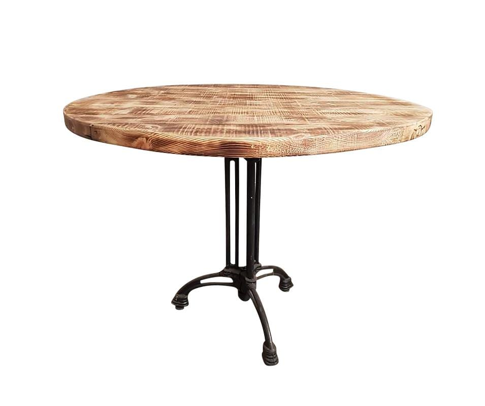 Round Industrial Dining Bistro Table Made from Reclaimed European Barnwood