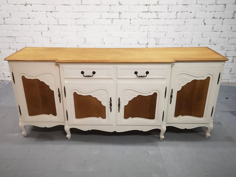 Vintage 20th C. French Country Boho Chic Sideboard Credenza Buffet Server