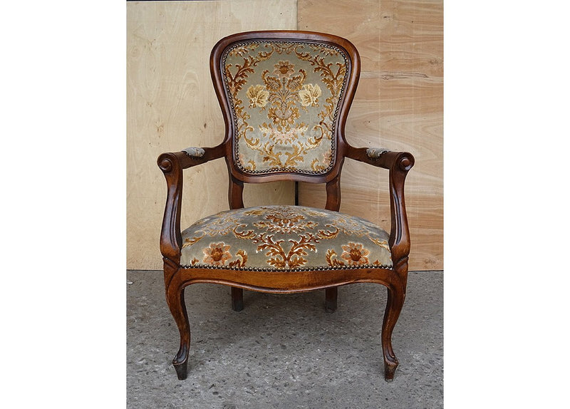 ... Vintage Elegant French Louis XV Style Original Floral Upholstery Walnut  Armchair ...