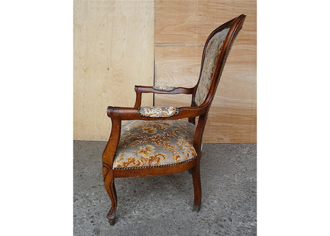 Image of Vintage Elegant French Louis XV Style Original Floral Upholstery Walnut Armchair