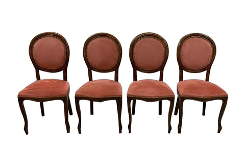 Set of 4 French Antique Louis XV Style Brick Red Medallion Dining Chairs