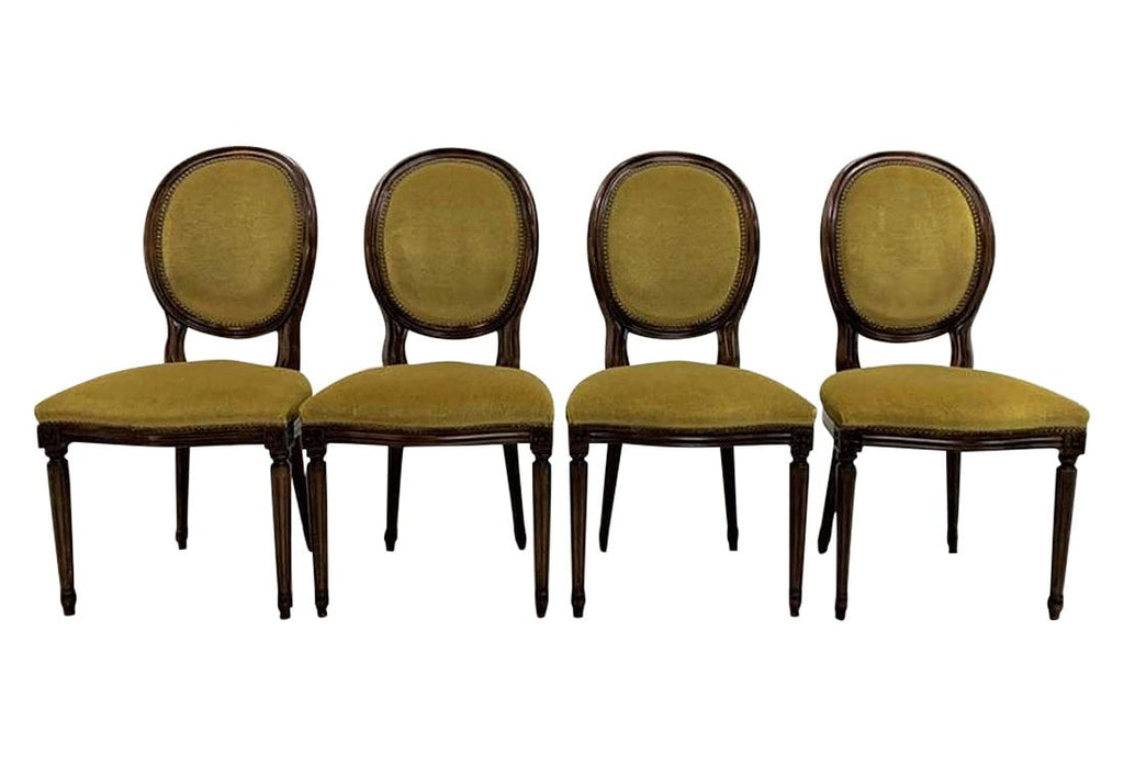 Set of 4 French Louis XVI Style Chartreuse Green Velvet Medallion Dining Chairs
