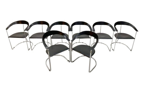 Set of 8 1970s Vintage Italian Unsigned Arrben Designer Dining Chairs