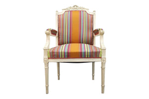 Vintage  French Reupholstered Louis XVI Style Shabby Chic White Armchair