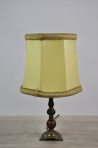 Vintage French Wood Brass Three Feet Yellow Lampshade Bed Lamp