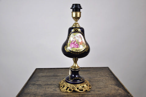 French Antique Glass Petrol Lamp Fragonard Style C1900's