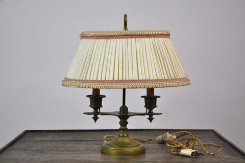 Image of Vintage French Two-Arm Candlestick Brass Bouillotte Desk Library Table Lamp w Oval Shade