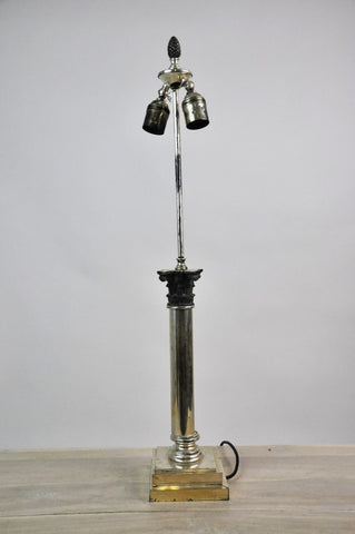 Image of Vintage French Neo-Classical Steel Two-Way Table Lamp