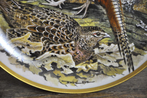 Image of Franklin Limoges Porcelain Wall Plate Gamebirds Motif Limited Edition 1979 France Chinese Pheasant