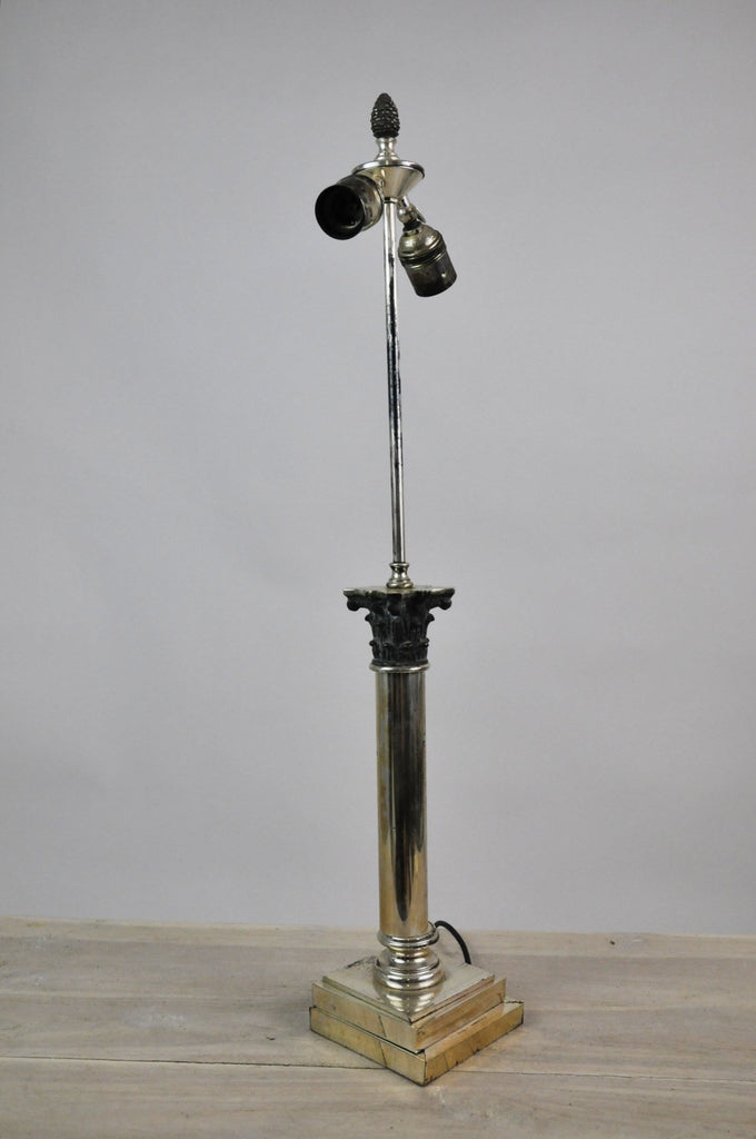 Vintage French Neo-Classical Steel Two-Way Table Lamp