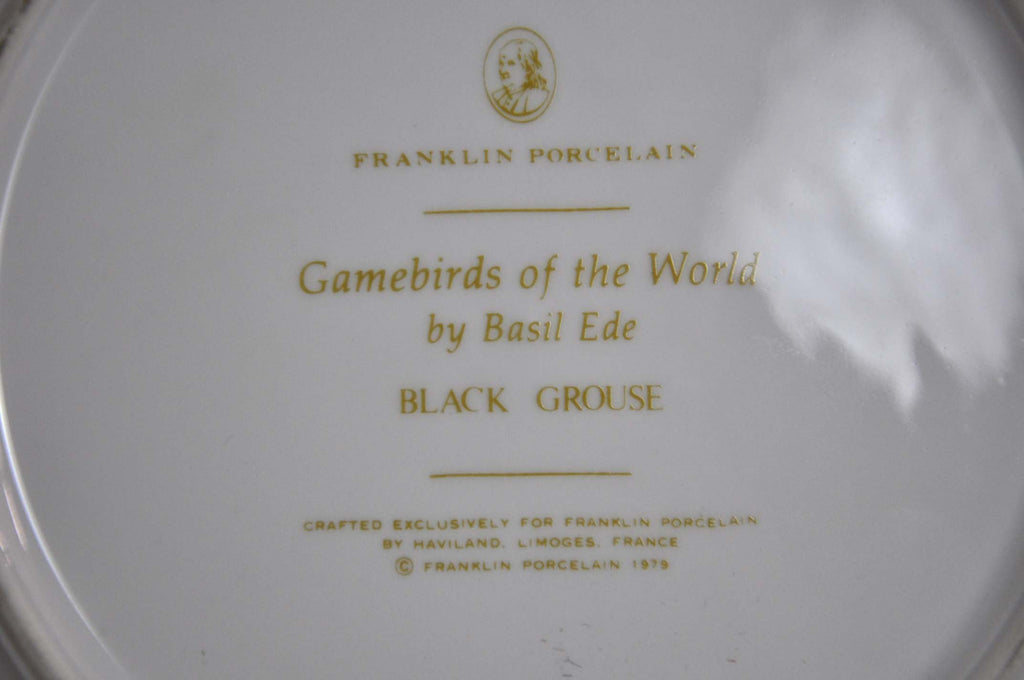 Franklin Limoges Porcelain Wall Plate Gamebirds Motif Limited Edition 1979 France Black Grouse