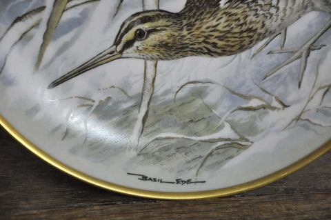 Image of Franklin Limoges Porcelain Wall Plate Gamebirds Motif Limited Edition 1979 France Common Snipe