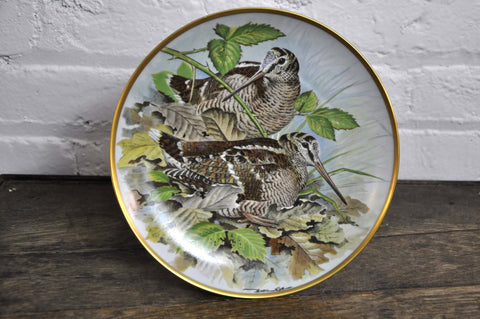Image of Franklin Limoges Porcelain Wall Plate Gamebirds Motif Limited Edition 1979 France Woodcock